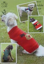 KNITTING PATTERN 4 Styles Dogs Christmas Coats Rudolph Snowman DK King Cole 4115