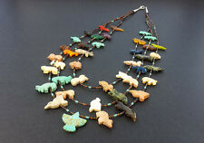Hand Carved Multi Strand Thunderbird Multicolored Mixed Animals Fetish Necklace