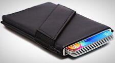 Rfid Aluminum Pop-up Business Card Holder Slim Leather Wallets Men Black Fashion
