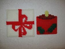 Gift Box & Red Candle Christmas Coasters Ornaments Plastic Canvas Handmade