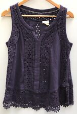 Anthropologie Top Meadow Rue Ladder Lace Tank Medium Blue Cotton Shirt 8 10