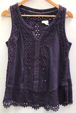 Anthropologie Top Meadow Rue Ladder Lace Tank Medium Blue Cotton Shirt 8 10