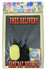 Kids Chalk Black Board with 6 Chalks and Duster