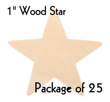 "STAR ~ 1"" ~ Wood Cutout Craft Shape ~ Unfinished { Lot of 25 } ~ by PLD"