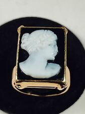 Antique Victorian 14K SOLID GOLD HARD STONE BLACK WHITE CARVED LADY CAMEO Ring