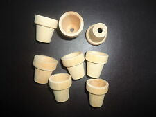 small wooden garden pots 25mm x 28mm.. 8 ready to paint, fairy, doll house