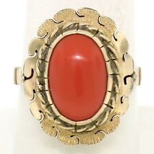Antique 14k Rosy Yellow Gold Oval Cabochon Prong Set Coral Solitaire Ring Sz 9