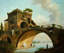 "Oil Painting Hand painted on canvas -The Old Bridge -17 th Century-size 24""x20"""
