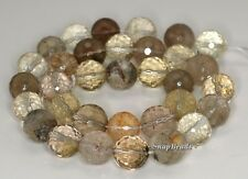 12MM  MIX QUARTZ GEMSTONE FACETED ROUND LOOSE BEADS 7.5""