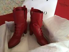 NWB Valentino Red Leather Boots With Heels. Sz 40. Dust Bag, Box & Bag
