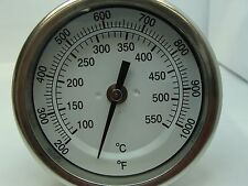 "3"" BIMETAL THERMOMETER BACK MOUNT 6"" STEM 1/2"" NPT 200 Degrees F~1000 Degrees F"