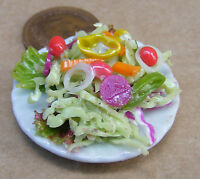 1:12 Large Hand Made Tossed Salad On A 3.5cm Ceramic Plate Dolls House Miniature
