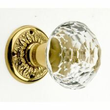 Pair of Crystal Design Glass Door Knobs With Brass Backplates