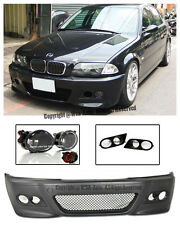 For 99-05 BMW E46 3-Series 4Dr M3 Style Front Bumper Cover CL Fog w/ HAM Cover
