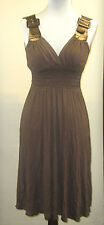New CASTING of FRANCE Brown Buckle Strap Cocktail Dress Womens Large