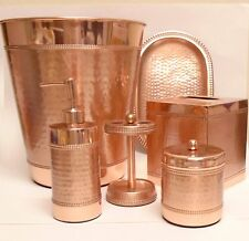 NEW 6 PC SET COPPER,ROSE GOLD METAL,SOAP DISPENSER+TRASH CAN+TOOTH+TRAY+TISSUE+1