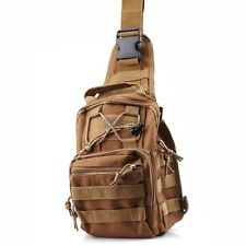 Tactical Military Molle Utility 3 Way Shoulder Sling Chest Travel Pouch Bag TAN