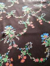 UNUSED vintage 1940's - 50's cotton fabric - brown ground with turquoise floral