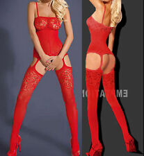 Red  Sexy Flower Open Crotch Fishnet Bodystocking/Catsuit Lingerie 8-12