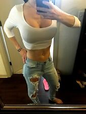 NWOT***SEXY WOMENS CASUAL CROP TOP***White***Size Medium***LONG SLEEVE***