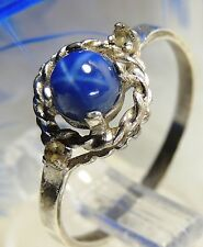 Young Ladies Vintage STAR SAPPHIRE Sterling Silver 0.925 COCKTAIL Ring size 5.5