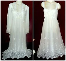 Vtg M Flora Nikrooz SHEER IVORY Tulle & LACE Bridal PEIGNOIR NIGHTGOWN SET USA!