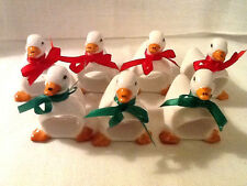 Vintage Set of 7 Ceramic Duck Napkin Rings/Holders - Christmas - Taiwan