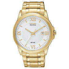 New Mens Citizen BM7262-57A White Dial Gold Tone Stainless Steel Eco-Drive Watch