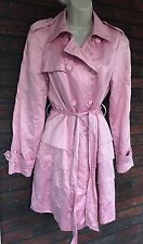 Ladies Medium Pink Ruffly Trench Coat Peacoat Rain Jacket International Concepts