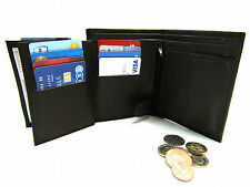MENS QUALITY REAL SOFT DARK BROWN LEATHER WALLET CREDIT CARD HOLDER COIN POUCH