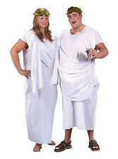 Unisex White Toga Grecian Goddess Fancy Dress Costume Greece Party New Outfit