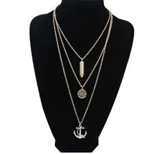 New Charm Womens Fashion Necklace Retro Long Chain Bullet Anchor Flower Pendants
