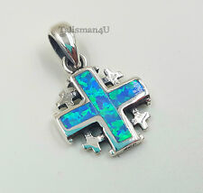 Blue Opal JERUSALEM CROSS Pendant 925 Sterling Silver Blessed with Certificate