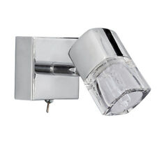 SEARCHLIGHT 1 LIGHT ICE CUBE GLASS CHROME WALL LAMP FITTING BRACKET SPOTLIGHT