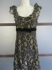 Betsey Johnson Evening Dress Sz 10 Black Gold Lace Velvet Cocktail Event Holiday