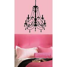 CHANDELIER MURAL wall stickers with 20 GEMS 38 BIG decals BLACK light stickups