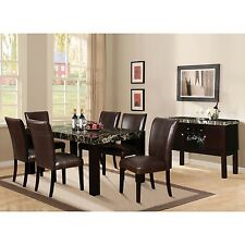 Adolph Modern Desing Furniture Dining Room Black Faux Marble Table Top 7pc Set