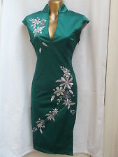Rare sexy chinois oriental vert argent prom party dress 14 16