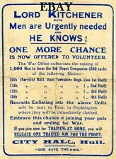 WW1 RECRUITING POSTER EAST YORKSHIRE REGIMENT HULL NEW A4 PRINT