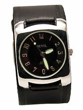 SAVIL:HEAVY LEATHER BIKER  EMBOSSED EDGING DESIGN BAND LARGE CASE ANALOG WATCH