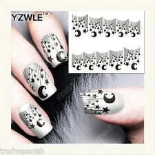Nail Art Water Decals Transfers Stickers Black Lace Stars Moon Gel Polish (155)