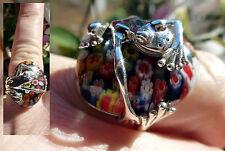 Jolie bague grenouille en ARGENT 925 verre de murano millefiori taille 59