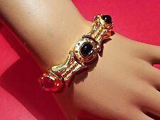 Just in! VTG Byzantine Gripoix Matte Gold Cabochon Sculptured Designer Bracelet