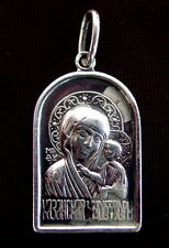 Old Russian Silver ICON Mother Of God Kazanskaya, Sterling Pendant Russia