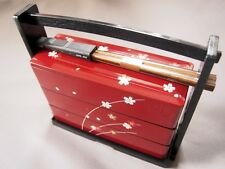 Japanese Traditional Lunch Box Sakura 3 Stage with Chopsticks Made in Japan F/S