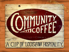 "TIN-UPS TIN SIGN ""Community Coffee"" New Orleans Ad Vintage Art Poster Man Cave"