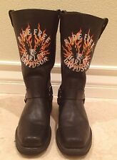HARLEY DAVIDSON Black Leather Motorcycle Harness Boots Flame Ride Free Men's 8 M