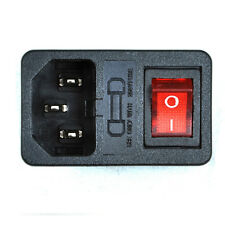 AC Inlet Power socket 3 Pole With Fuse Holder  Switch Lamp