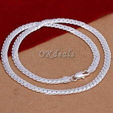 """Fashion Men Women 5MM Silver Plated Silver Plated Solid Necklace Chain 20"""" inch"""