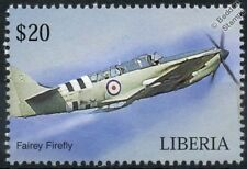 Royal Navy FAIREY FIREFLY D-Day Livery Aircraft Stamp (Liberia)